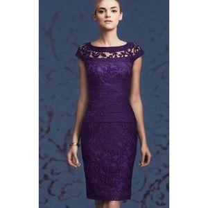 Tadashi Shoji Embroidered Banded Lace Dress Knee Length Purple Size 6